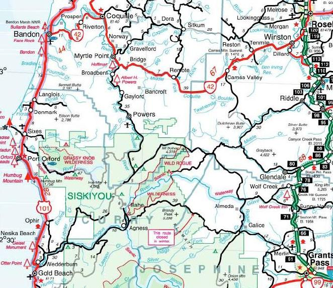 Rogue River Section Oregon State Highway Map Joe Duck - Map of oregon highways